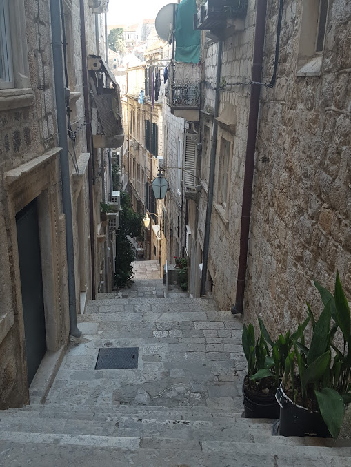 stairways from our apartment to the main road inside the Old Town